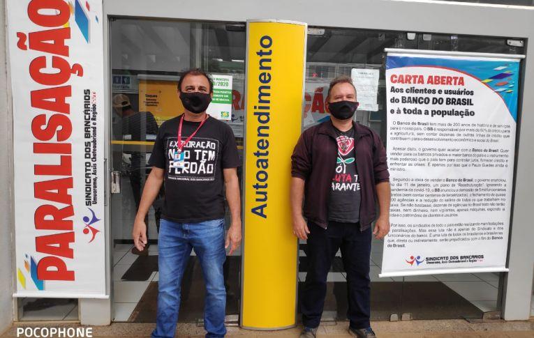 Bancários do Banco do Brasil de Guaíra e Terra Roxa protestam contra a Reestruturação
