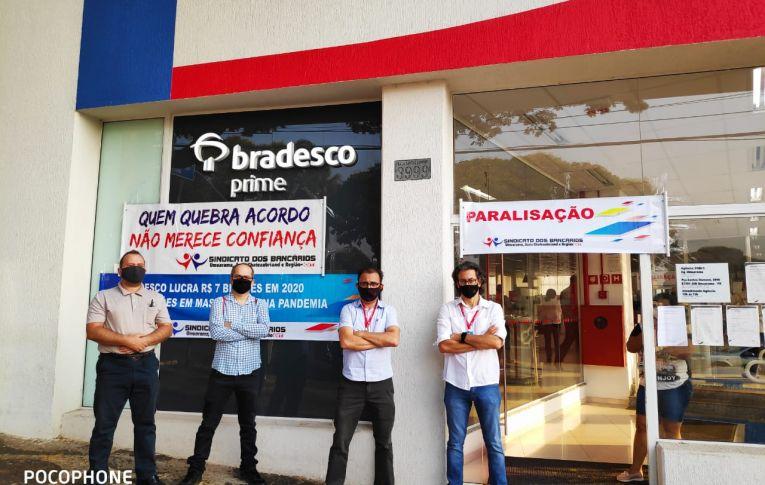 Bancários do Bradesco paralisam em protesto contra demissões