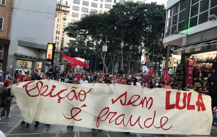 Bancários foram às ruas no Dia Nacional em Defesa de Lula Livre Categoria participou das manifestações contra prisão arbitrária do ex-presidente