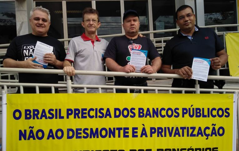Bancários realizaram um Dia Nacional de luta contra reestruturação no Banco do Brasil