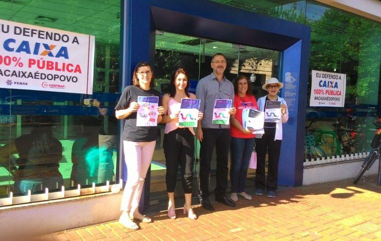 Bancários vãos às ruas para defender a Caixa 100% pública