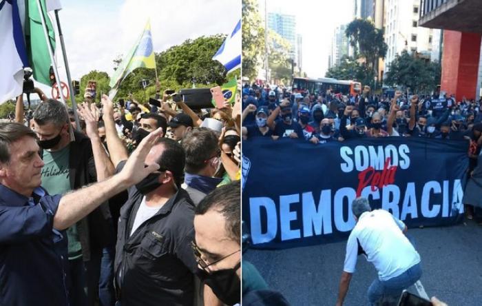 Brasil tem domingo marcado por atos pela democracia e contra bandeiras neofascistas