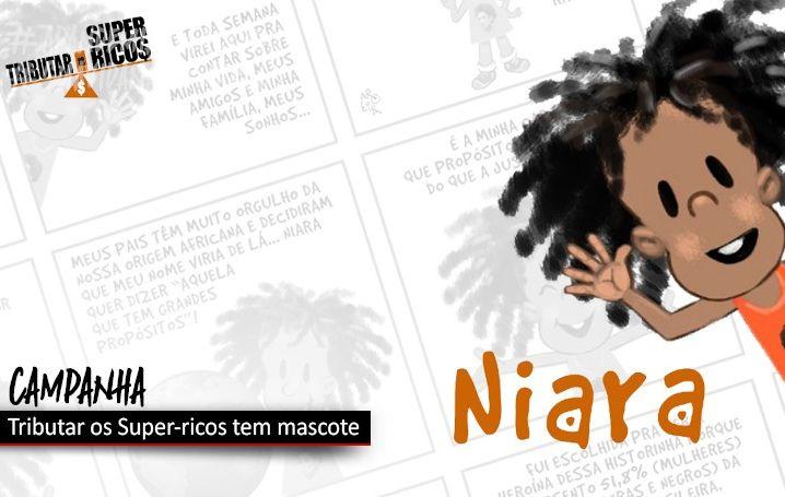 Conheça Niara, mascote da campanha Tributar os Super-ricos