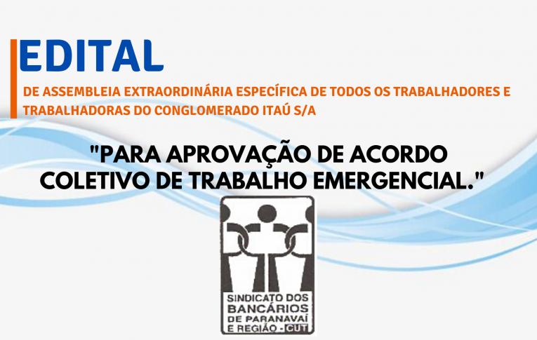 Edital de Assembleia Extraordinária Específica Itaú Paranavaí