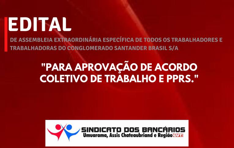 Edital de Assembleia Extraordinária Específica Santander Umuarama