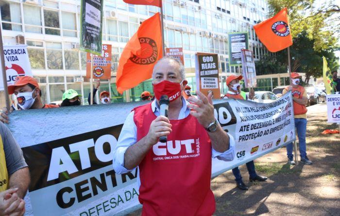 Em ato das Centrais, Sérgio Nobre manda Guedes criar juízo e respeitar trabalhadores