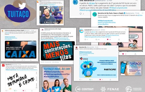 Empregados da Caixa cobram mais contratações e PLR justa em tuitaço