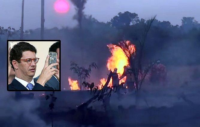 Enquanto Brasil queima, Ricardo Salles se esquiva com informação falsa