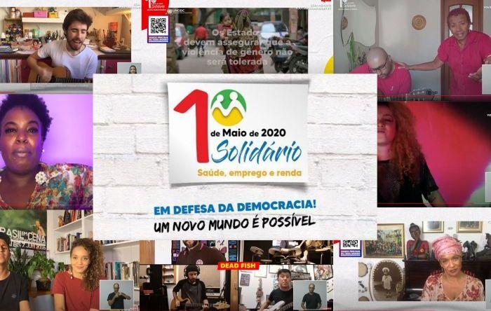 """""""Fora, Bolsonaro"""" dominou o 1º de Maio Solidário, pela democracia e pelos direitos"""