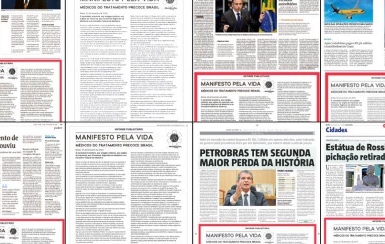 """Jornais publicaram anúncio pago de """"tratamento precoce"""" contra covid-19"""