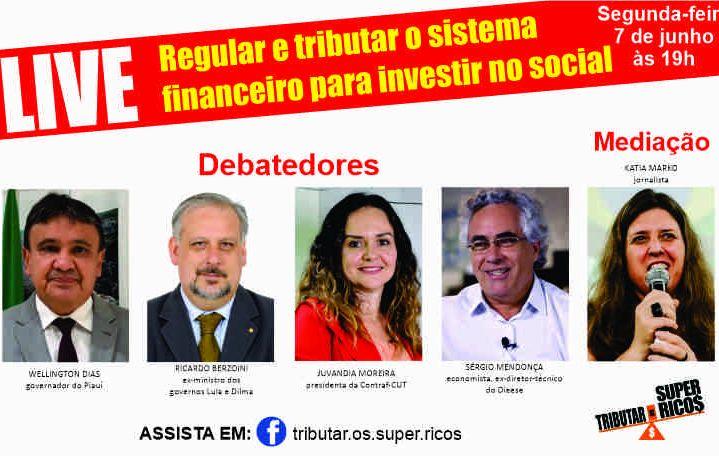 Live debaterá regulação e tributação do sistema financeiro
