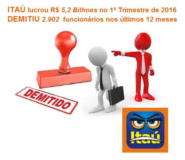 Recorde do Itaú no primeiro trimestre cai 9,9% após demitir 2.902 empregados