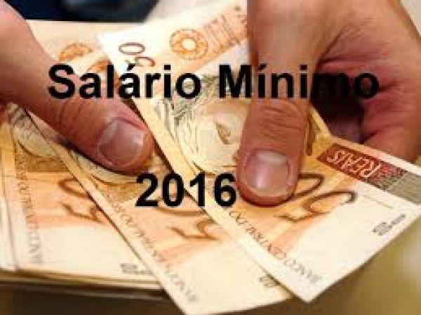 Salário mínimo válido para o ano de 2016 é de 880 reais