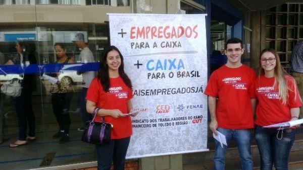 Sindicatos do Pactu participaram da Campanha Nacional por mais bancários na Caixa