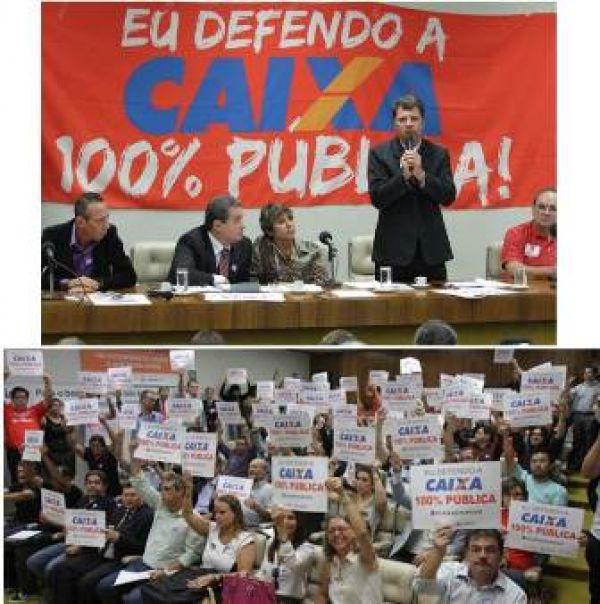 Ato na Câmara amplia mobilização pelo caráter 100% público da Caixa