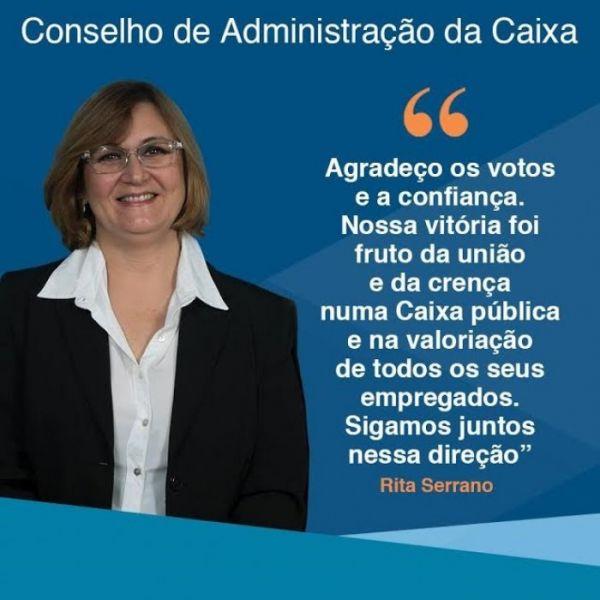 Chapa 1 vence e Rita Serrano é a nova representante dos empregados no CA da Caixa