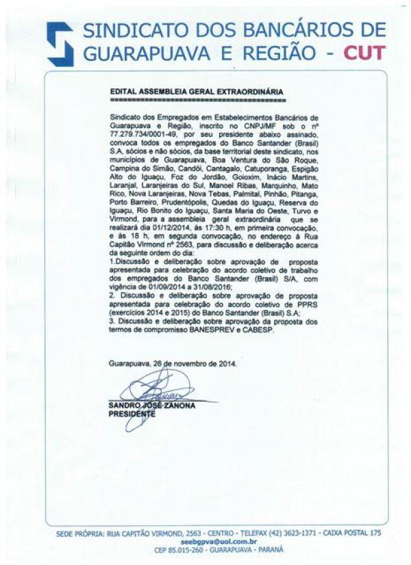 Assembleia Funcionários Santander, Guarapuava e Região.