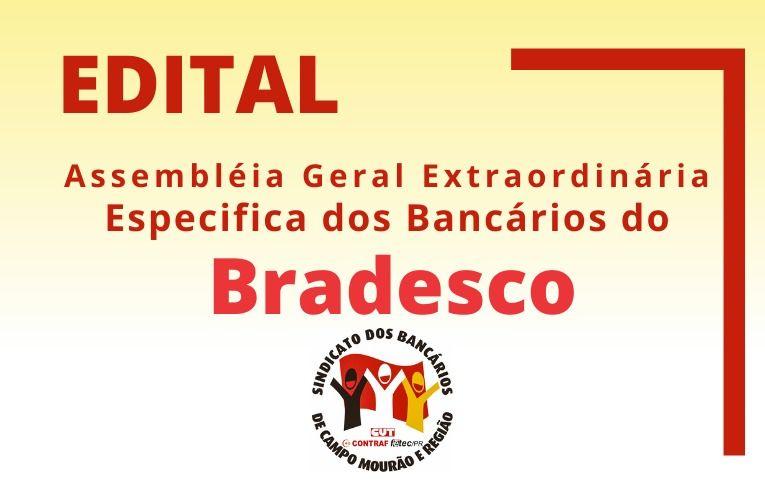 Sindicato de Campo Mourão convoca bancários e bancárias do Bradesco para Assembleia Específica