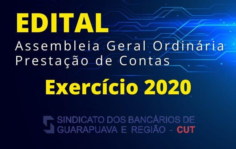 Sindicato de Guarapuava convoca assembleia para prestação de contas do exercício de 2020