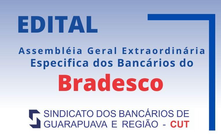 Sindicato de Guarapuava convoca bancários e bancárias do Bradesco para Assembleia Específica