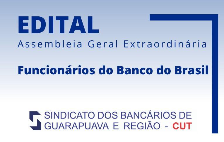 Sindicato de Guarapuava convoca funcionários do Banco do Brasil para Asembleia Digital