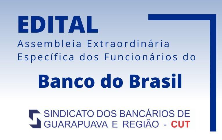 Sindicato de Guarapuava convoca funcionários do Banco do Brasil para Assembleia Digital