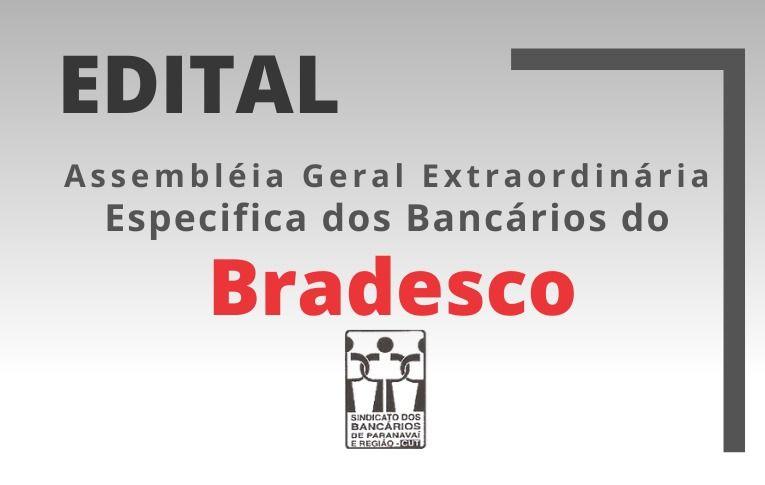 Sindicato de Paranavaí convoca bancários e bancárias do Bradesco para Assembleia Específica