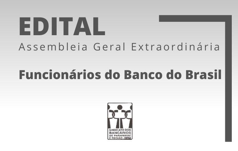 Sindicato de Paranavaí convoca funcionários do Banco do Brasil para Asembleia Digital