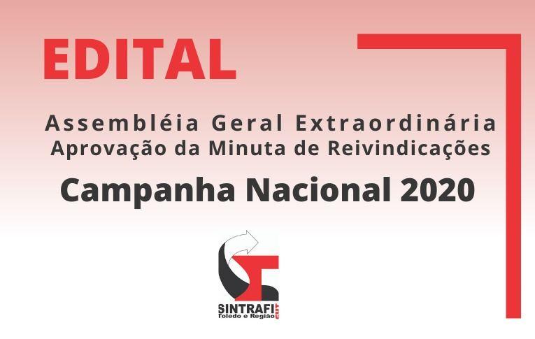 Sindicato de Toledo publica Edital de Assembleia Geral Extraordinária