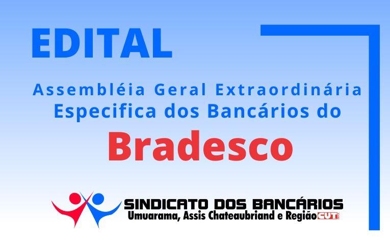 Sindicato de Umuarama convoca bancários e bancárias do Bradesco para Assembleia Específica