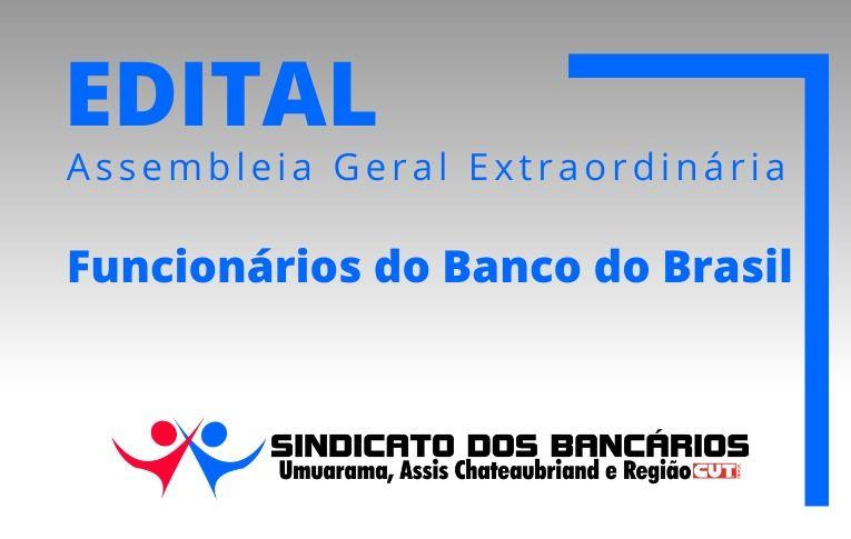 Sindicato de Umuarama convoca funcionários do Banco do Brasil para Asembleia Digital