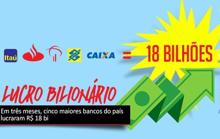 Soma do lucro dos cinco maiores bancos do país chega a R$ 18 bi
